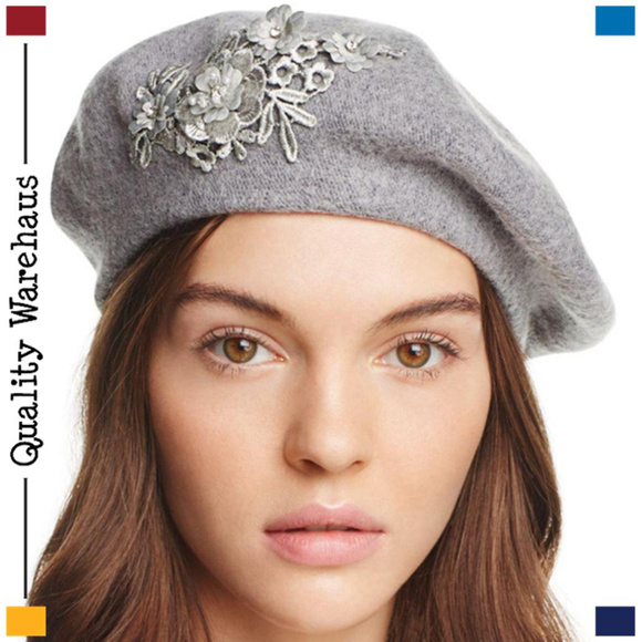 4d9b32620f0 NEW AUGUST HATS Gray Wool Blend Applique Beret Hat